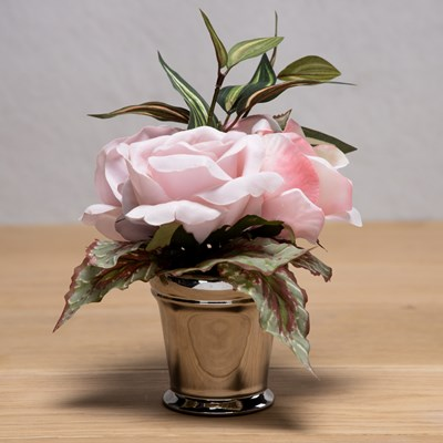 Faux Rose in Silver Vase