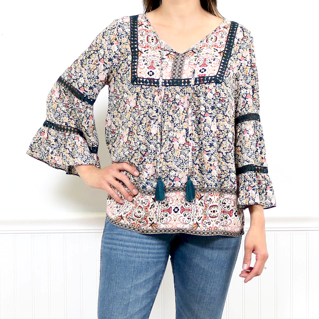 Red Multi Coloured Floral Pattern Poncho//Waistcoat Style Top One Size