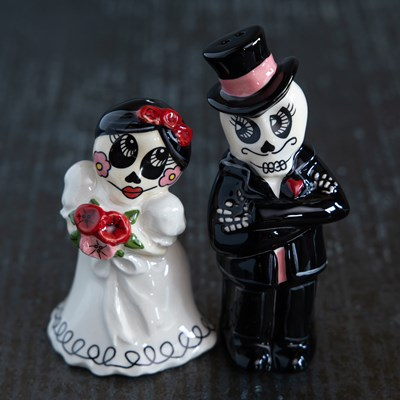 Sugar Skull Couple Salt and Pepper Shaker Set