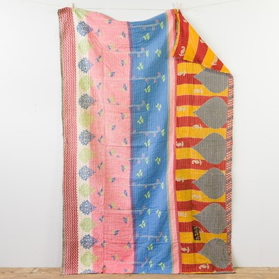 Kantha Quilt - Red And Yellow Stripe