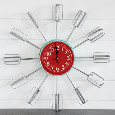 Metal Mixer Beaters Wall Clock