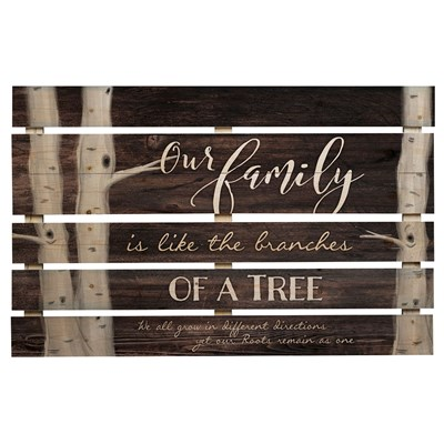 """Our Family"" Pine Slat Wall Decor"
