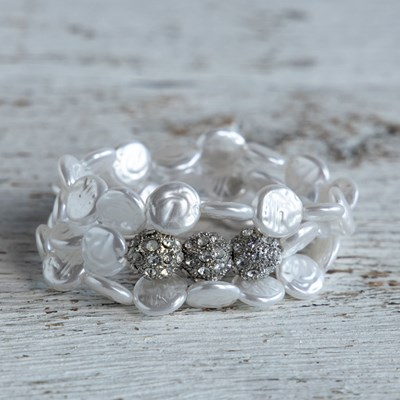 Pearl and Fireball Stretch Bracelet