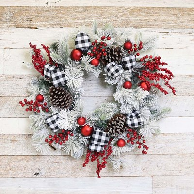 "Frosted 26"" Christmas Wreath"