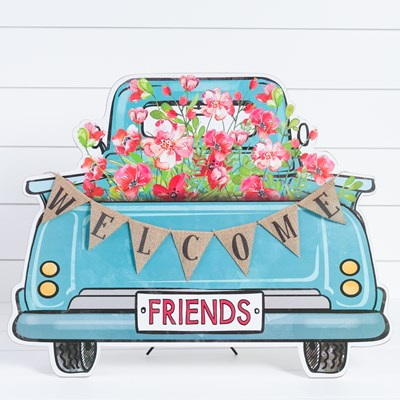 """Welcome Friends"" Flower Truck Sign"