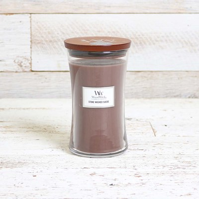 WoodWick Stone Washed Suede Large Jar Candle