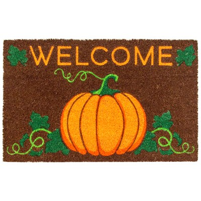 "Pumpkin ""Welcome"" Coir Doormat"
