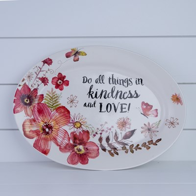 "Stoneware ""Kindness and Love""Oval Platter"
