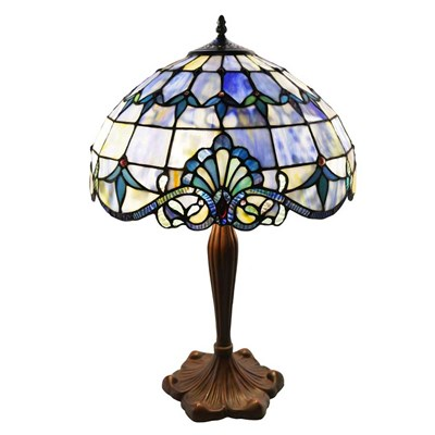 Tiffany Style Stained Glass Table Lamp - Blue