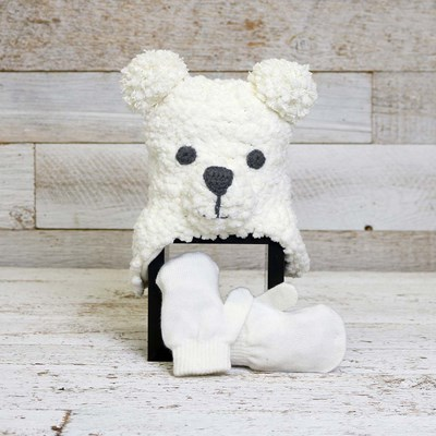 Infant Ivory Bear Hat with Mittens