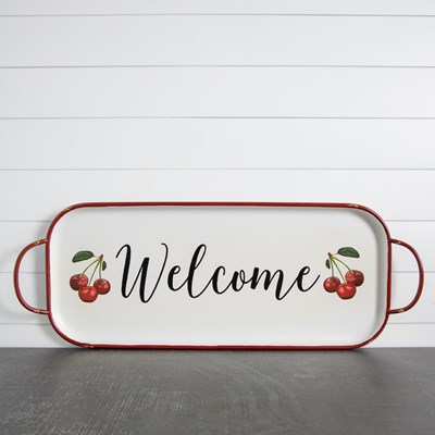 Welcome Metal Tray Wall Decor