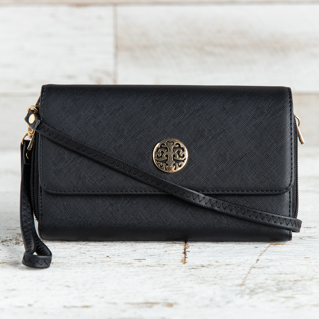 0f39c8f79a70 Black Medallion Crossbody Bag