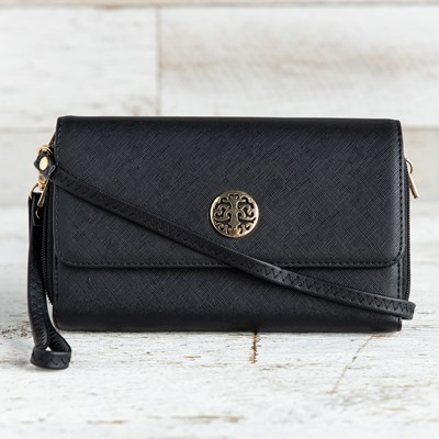 Black Medallion Crossbody Bag