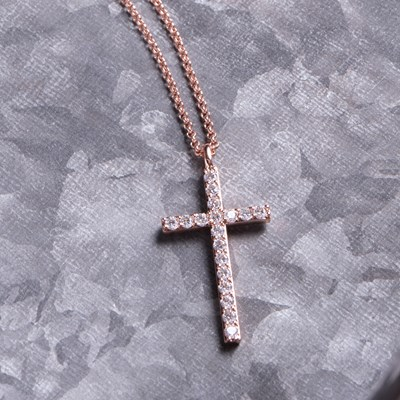 "Rose Gold Cubic Zirconia Cross 18"" Chain Necklace"