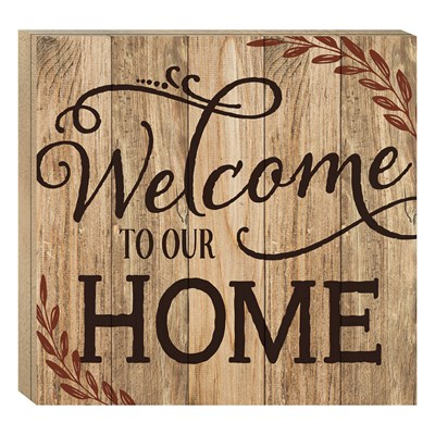 """Welcome To Our Home"" Barn House Box Sign"