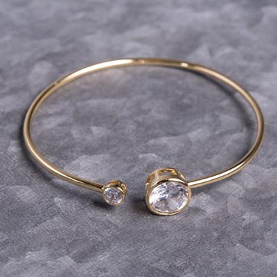 Gold Bezel Set Bangle Bracelet