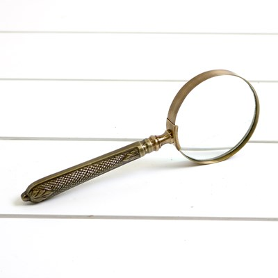 Hammered Antique Brass Magnifying Glass