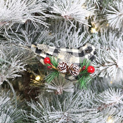 Black and White Plaid Bird Ornament