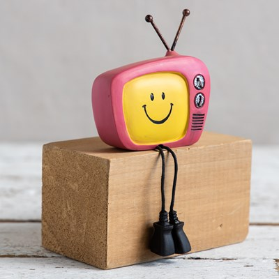 Retro Television Shelf Sitter - Pink