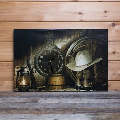 Canvas Wall Decor with Clock