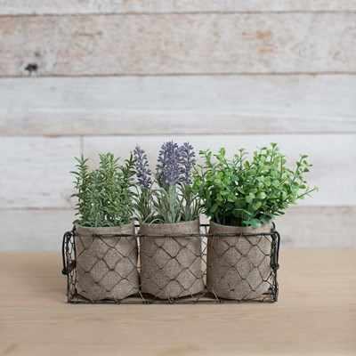 Faux Herbs in Container