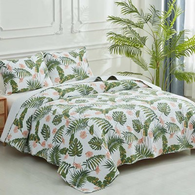 Tropical Whole Cloth King Quilt Set