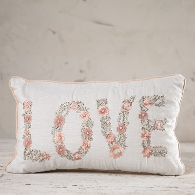 "Embroidered ""Love"" Pillow"