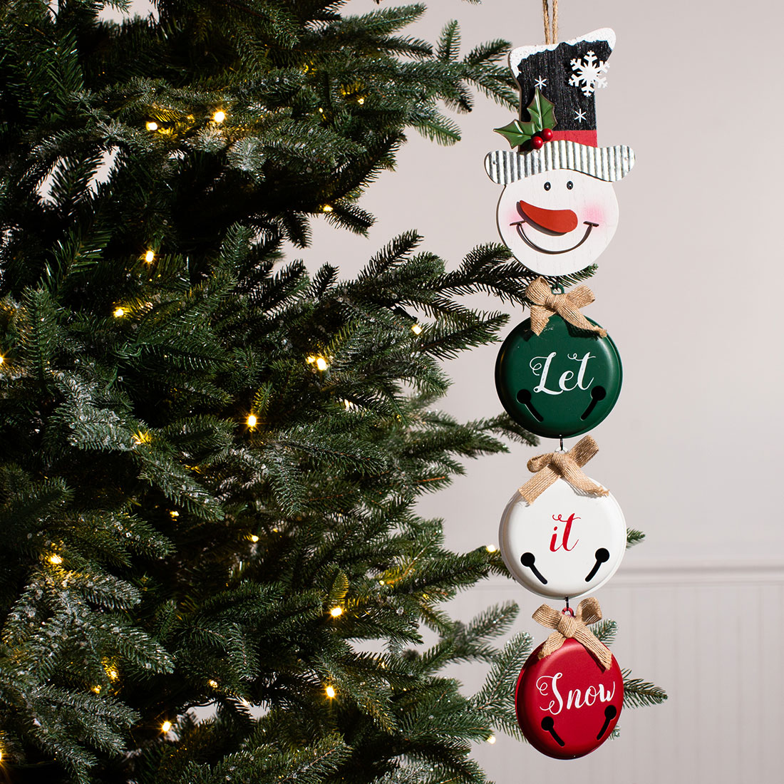 Dd Christmas.Snowman Head With Bells Ornament