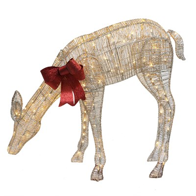 "40.5"" Standing LED Lighted Feeding Elk Yard Art"