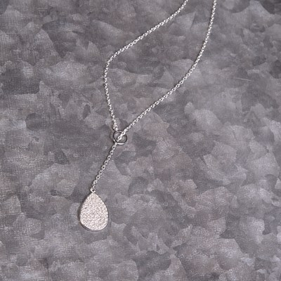"Silver Pave Teardrop 24"" Lariat Necklace"