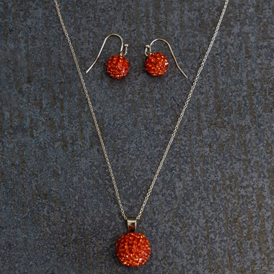Pave Pumpkin Necklace and Earring Set