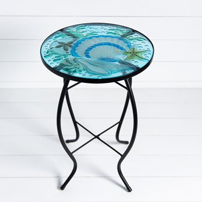 Painted Glass Shell Side Table