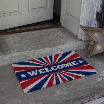 Patriotic Welcome Slip Resistant Coir Doormat