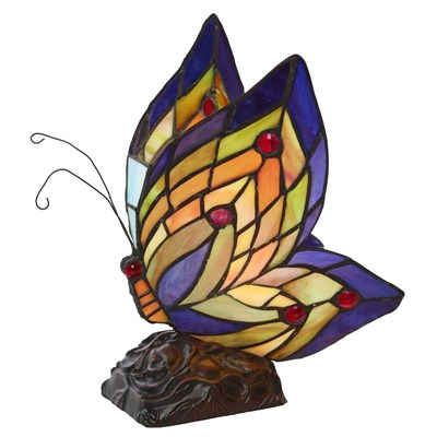 Tiffany Style Stained Glass Butterfly Accent Lamp