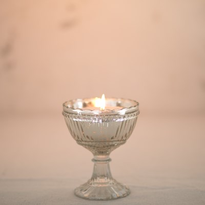 Mercury Glass Pedestal Dish Candle
