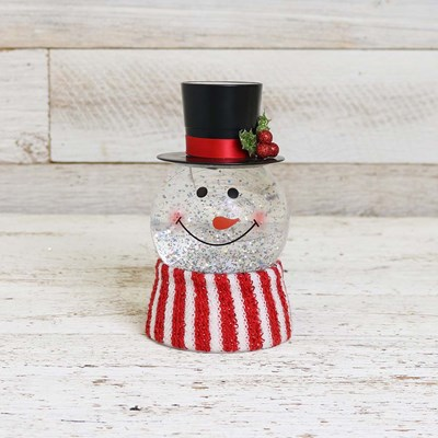 Snowman Head Glitter Globe with Scarf