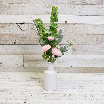 Faux Ranunculus and Greenery in Vase