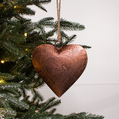 Copper Finish Heart Ornament - Large