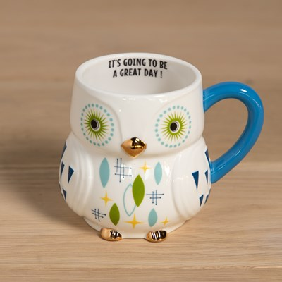 Mid Century Owl Mug - Blue Handle