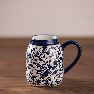 Blue Splatterware Mason Jar Mug