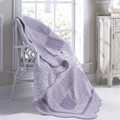 Lavender Rose Quilted Throw Blanket by Donna Sharp