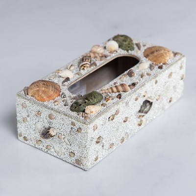 Beaded Shell Tissue Box
