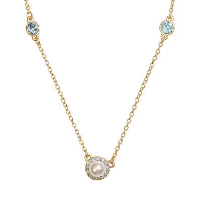 Swarovski Crystal Pearl Halo Necklace - 14K Gold