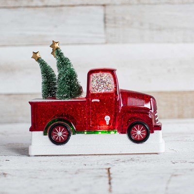 Red Truck Glitter Globe Decor
