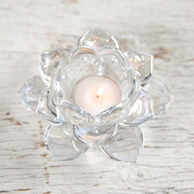 Clear Glass Flower Tea Light Holder