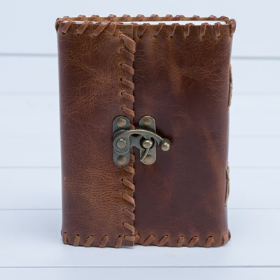 Whipstitch Leather Journal with Buckle