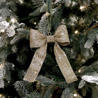 Champagne Glitter Bow Ornament