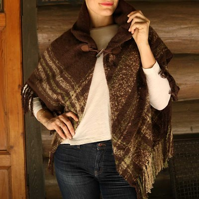 Brown Plaid Boucle Toggle Shawl
