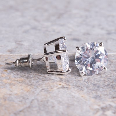Silver Round-Cut Cubic Zirconia Stud Earring