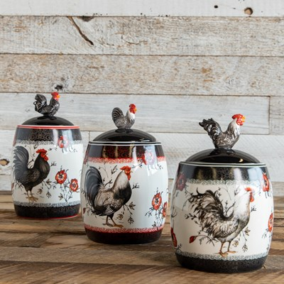 Rooster Canisters - Set of 3